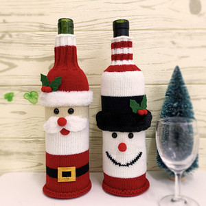 1PCS Christmas Snowman Knitting Stockings Candy Gift Bags Beer Wine Bottle Sets Christmas Decoration Supplies Xmas Socks