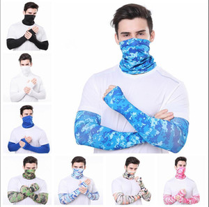 Men Bandana Magic Scarf gloves protective sleeves set Sport Sun UV Protection Cooling Face Mask For Running Fishing Cycling LJJA4080N