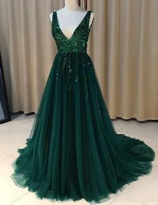 Sexy V-Ausschnitt A-Linie Lange Abendkleider wulstige Reißverschluss-Rückseite formale Abendkleider Abendkleider Vestido De Noche
