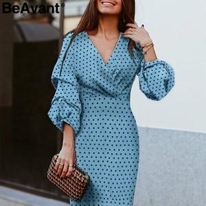 BeAvant elegante polca mulheres vestido do ponto V-neck luva lanterna femininos do partido vestidos vintage senhoras de cintura alta midi vestidos Vestidos