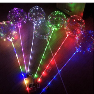 LED Световой Бобо Болл шар 3M Light Up Строка Прозрачные Волновые шары с 80см Pole Balloon для свадебного банкета Праздничные украшения INS