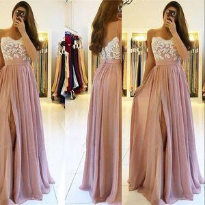 Longitud apliques de gasa rosa polvoriento vestidos de noche atractivo de las correas de espagueti del cordón blanco de alta Dividir piso más el tamaño de vestidos de baile vestido de dama