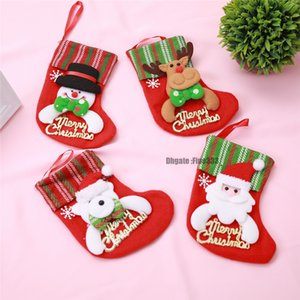 Santa Socks Reindeer Christmas Candy Bag Stockings Gifts Cloth Santa Elk Socks Knife Cutlery Holder Bag Home Party Table Decoration