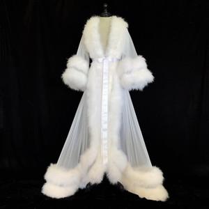 Blanca Doble Deluxe Las mujeres del traje de piel Camisón Albornoz ropa de noche nupcial del traje de marabú / Charmeuse Vestido regalos del vestido de la dama de honor de vestir