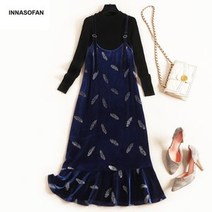 INNASOFAN Sets Women Spring Autumn Chic Two Piece Velvet Dress with Fish Hem and Long Sleeves Sweaters