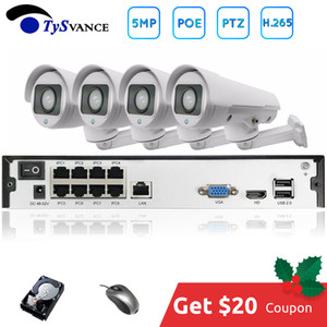 H.265 PTZ 5MP POE 4CH NVR Kiti CCTV Sistemi IP Kamera 2.8-12mm 4X IP66 Açık Hava 5.0MP Video Güvenlik Gözetleme
