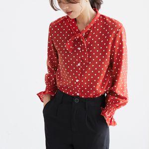 Qiukichonson Polka Dot Lanterna Manga Chiffon Blusa Coreano Moda 2019 Primavera Bowknot Design Gola Mulher Camisas Casuais