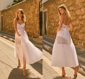 2020 Ivory Namorada Short Boho vestidos de casamento do vintage Layers Tulle Praia bohemain nupcial Vestido Em armazém 2762