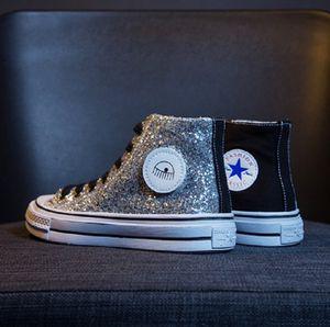 Mandris 1970 All One Star Glitter Silver Moda Revelando Designer Ferragni Mulheres Homens 70 Sneaker instrutor de alta qualidade Athletic Shoe Chiara