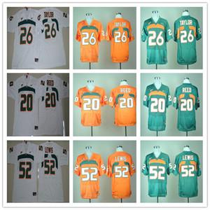 2020 Мужчины Американский футбол Майами Ураганы Джерси вышивки 15 Бред Каайя 20 Эд Рид 52 Рэй Льюис 26 Шон Тейлор Зеленый Оранжевый Белый S-3XL