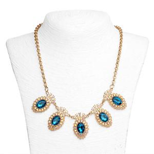 Cadeia mulheres gargantilhas colares de Moda de Nova Verde Rhinestone Colar Feminino Short colar de cristal camisola cadeia de jóias