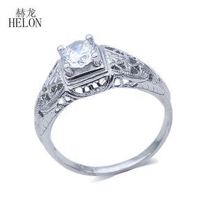 Helon Real 925 plata esterlina anillo de bodas del aniversario de circón cúbico genuino para las mujeres solitario partido marca de joyería fina regalo J190707