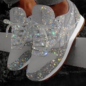 Las mujeres las mujeres planas de las zapatillas de deporte 2019 Hembra ocasional de malla de encaje hasta la plataforma de Bling Comfort Plus tamaño de los zapatos vulcanizados 2019 otoño