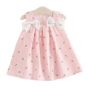 New summer kids clothes baby girls dresses suspenders print Bow vest dress Children's clothing free shipping