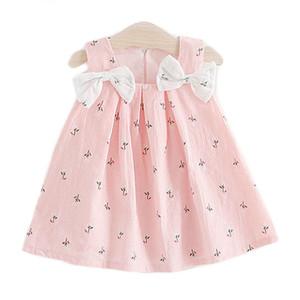 NUEVO Ropa para niños de verano Vestidos para niñas bebé Suspensores Imprimir Bow Challe Vestido Ropa para niños Envío gratis