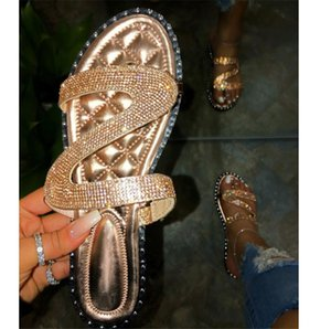 2020 Women's Sandals Shoes Casual Outside Slippers Stick The Rhinestone Flat Buckle Slippers PH-CFY20050914