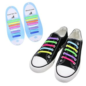 16Pcs Adult Kid Lazy No Tie Silicone Shoelace Waterproof Elastic Wash-Free Rainbow Shoe Lace for Casual Sneakers Running Boot