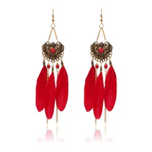 Chain Feather Drop Earrings for Women New Design Classic Earrings