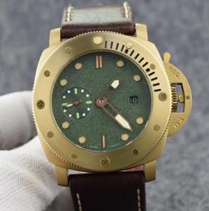 Luxury Classic Movimento PAM00382 automatico 47mm Men Watch Lunetta girevole colore del bronzo della cassa di acciaio inossidabile cinturino in pelle marrone Mens Diving