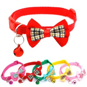 1pc Cute Plaid Bowknot Pets Cats Collar Candy Color Adjustable Puppy Cat Necklace Bow Tie With Bells Small Dogs Kitten Collars