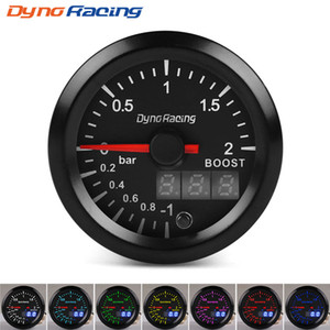 Dynoracing 2 '' 52mm Dual Display 2BAR Turbo-Boost-Messgerät 7 Farben LED-Boost-Meter mit Schrittmotor Automeßinstrument