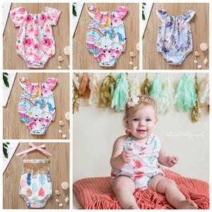 5styles Unicorn Verão Praia Outfits Baby Girl Macacão Backless Bolo Bandage Bow Elastic Sereia Seta Tenda Impresso Criança Macacão FFA2161