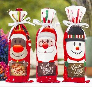 Drawstrings Santa Kardan Adam Şarap ile Noel Şarap Şişesi Çanta Noel Kırmızı Şarap Şişe Kapağı Bags Dekor Bag Şişe