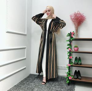 Kimono Muslim UAE Abaya Gestreifte Ketten Hijab Kleid Strickjacke Robe Dubai Kaftan Ramadan Eid Arab Jubah Türkische Islamische Kleidung