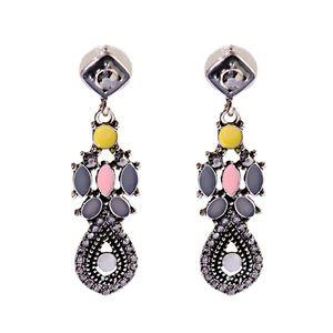 Moda Mulheres Elegantes indicação colorida de cristal Flor na moda Handmade Brinco Stud Atacado Jóias