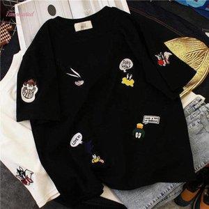 Korean Cartoon Embroidery O Neck Thickened Short Sleeve T Shirt Half Sleeve Basic Tshirt Spring Autumn Polyester Winter Ulzzang Harajuku