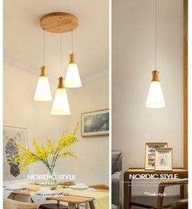 European  Japanese Glass Led Chandelier Lighting Modern Wood Hanging Light Fixtures E27 for Living Room Kitchen Dining Room Hall