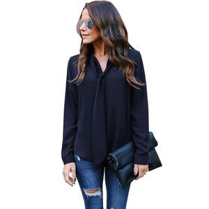 2019 новый европейский и американский стиль с длинными рукавами V-образным вырезом женщин рубашки случайные дамы галстук шифон рубашка блузка топы