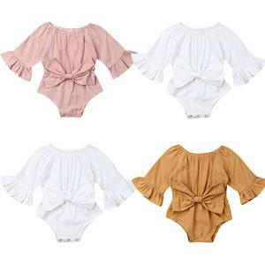 Pudcoco 2019 neonato neonata copre manica lunga del chiarore della tuta della tuta di estate dell'arco Outfit Solid