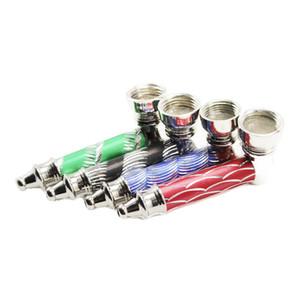 Y046 coloré Pipe métal Jamaïque Rasta tabac sec Herb pipes à main fumeurs Détecteurs de fumée Mill tuyaux métalliques fumeurs