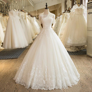 Foto real hombro corto vestido de fiesta blanco vestidos de novia vestidos de novia 2019 apliques de encaje vestito da sposa vestidos de novia Sudáfrica H036