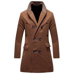 New Mens Windbreaker Mens Herbst und Winter Woolen Zweireiher Jacken Stehkragen Solid Color Fashion Mäntel Designer Mäntel