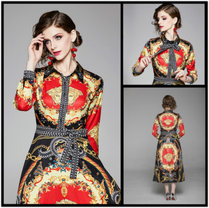 Mejor venta de pista de las mujeres de moda de lujo Vestido estampado elegante del vintage botón frontal de la solapa del partido atractivo delgado de la señora Neck Vestidos de noche Maxi