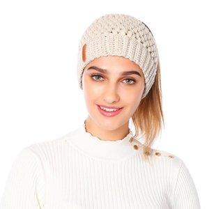 Трикотажного хвостик Beanie Твердой Adult крючок зима шлем женщины крышки Skullies Шапочка Теплой Skullies Caps LJJO7091