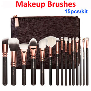Pennelli trucco kit 15pcs oro rosa spazzola + sacchetto volto professionale e eye shadow compongono Strumenti Eyeliner Powder Foundation Blending Brush Set