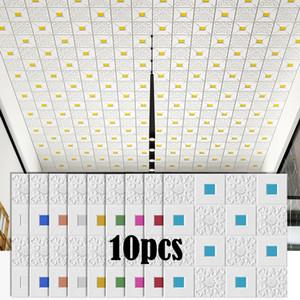 3D 벽 스티커 천장 스테레오 패널 지붕 장식 발포 벽지 방수 DIY 홈 인테리어 거실 침실 TV 배경
