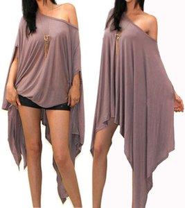 여성 패션 느슨한 배트 윙 슬리브 O-목 솔리드 하프 슬리브 비대칭 셔츠 블라우스 플러스 크기 탑