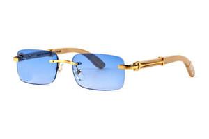 New muti-color Euro-am hot C luxury unisex sunglasses UV400 rimless UV400 rectangular brand-quality gradient sunglasses full-set case