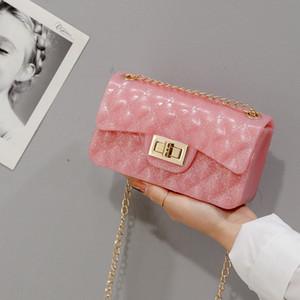Free2019 Решетка с бриллиантами Цепочка на одно плечо Уличный силиконовый гель Пакет желе Мини-пакет Tide Woman Wristlock Bag