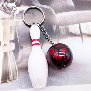الأزياء المحاكاة البسيطة البولينج مفتاح سلاسل الشخصية البولينج الكرة سلسلة المفاتيح كيرينغ مفتاح حامل ترويج حزب البولينج هدية FavorT2C5130