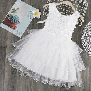 3Colors Mädchen-Sommer-elegantes Kleid ärmel Kleidung Netter Kind-Kostüm für Kinder beiläufiger Prinzessin Kleid Mode-Geburtstags-Party Puffy Rock