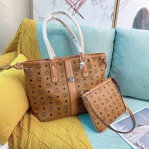 2020 neue 2pcs / set FrauenhandtaschenMCMTasche Klassische Einkaufstasche Clutch Handtaschen der Frauen realer Kuh-Leder-Schulter-Kurier-Einkauf