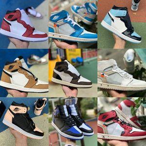 2020 Nike Air Jordan 1 retro jordans  Turbo Grün Origin Geschichte Gs Nuc Red NRG Union Frauen Retroes 1s Unc Weiß Blau Sportschuhe