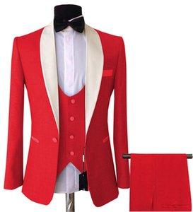 Mens 3 Pieces Suits Slim Fit Business Groom Pink purple Jacket Tuxedos White Blazer for Wedding Prom Evening(Blazer+Vest+Pants)