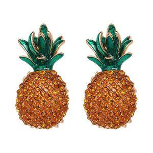 nouvelles boucles d'oreilles grandes goutte déclaration d'ananas fruit de la mode des boucles d'oreilles faits à la main en cristal strass pour les femmes accessoires