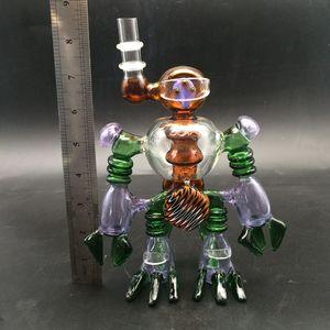 14.4mm ortak boruları ücretsiz kargo ile Robot glass bong su borusu eğitimli renk Glass'ın bonglar Dab petrol kulesi